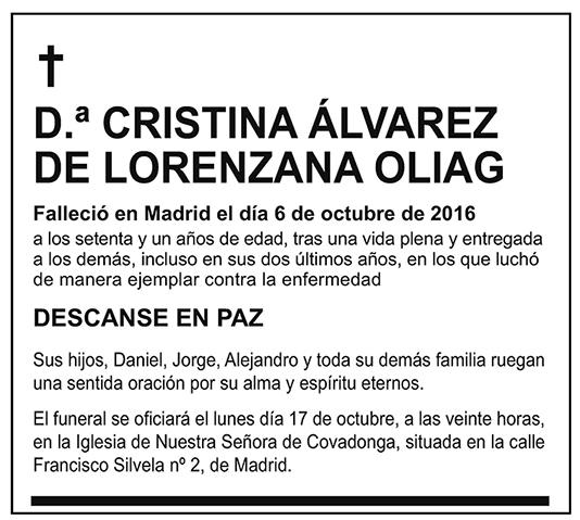 Cristina Álvarez de Lorenzana Oliag